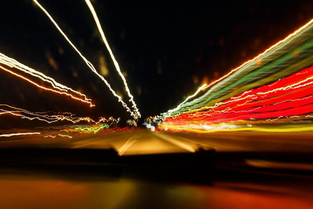 blurred lights from driving drunk at night